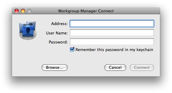 Cancel Workgroup Manager Connect