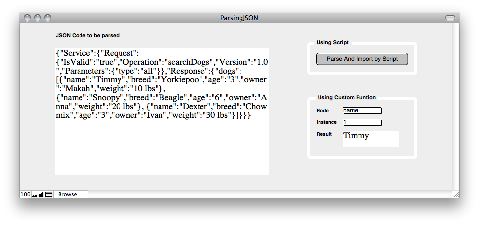 Parsing JSON Screenshot