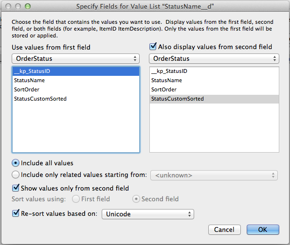 Value list dialog box