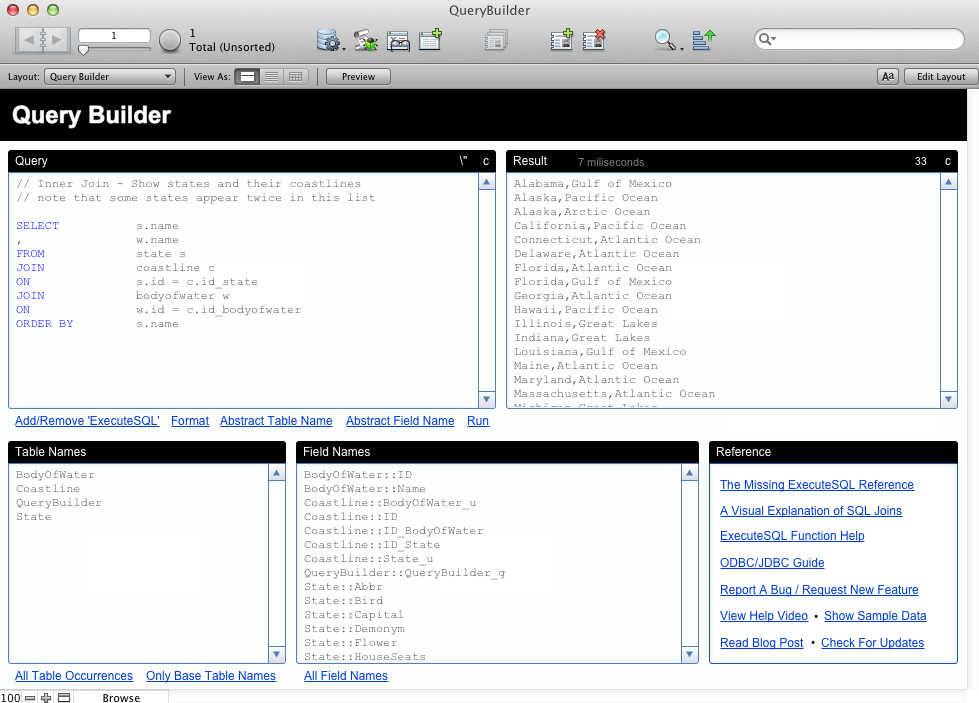 FileMaker SQL Query Builder Screenshot