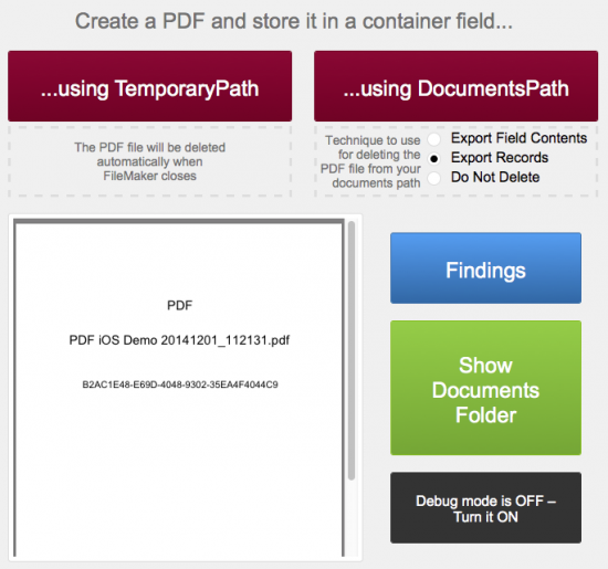 How to Generate and Store a PDF in FileMaker Go