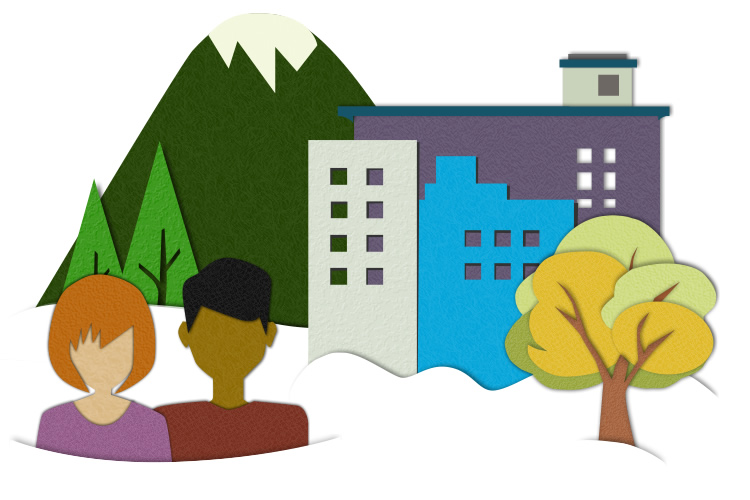 Paper cutout of people in front of buildings