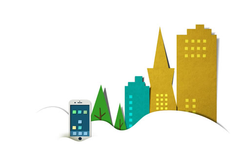 "Paper cutout of cityscape for the ""Plans"" section on the home page"