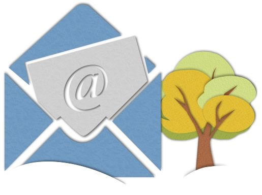 Paper cutout of envelope and tree