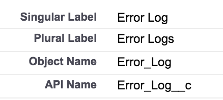 Error Log Object for storing logs