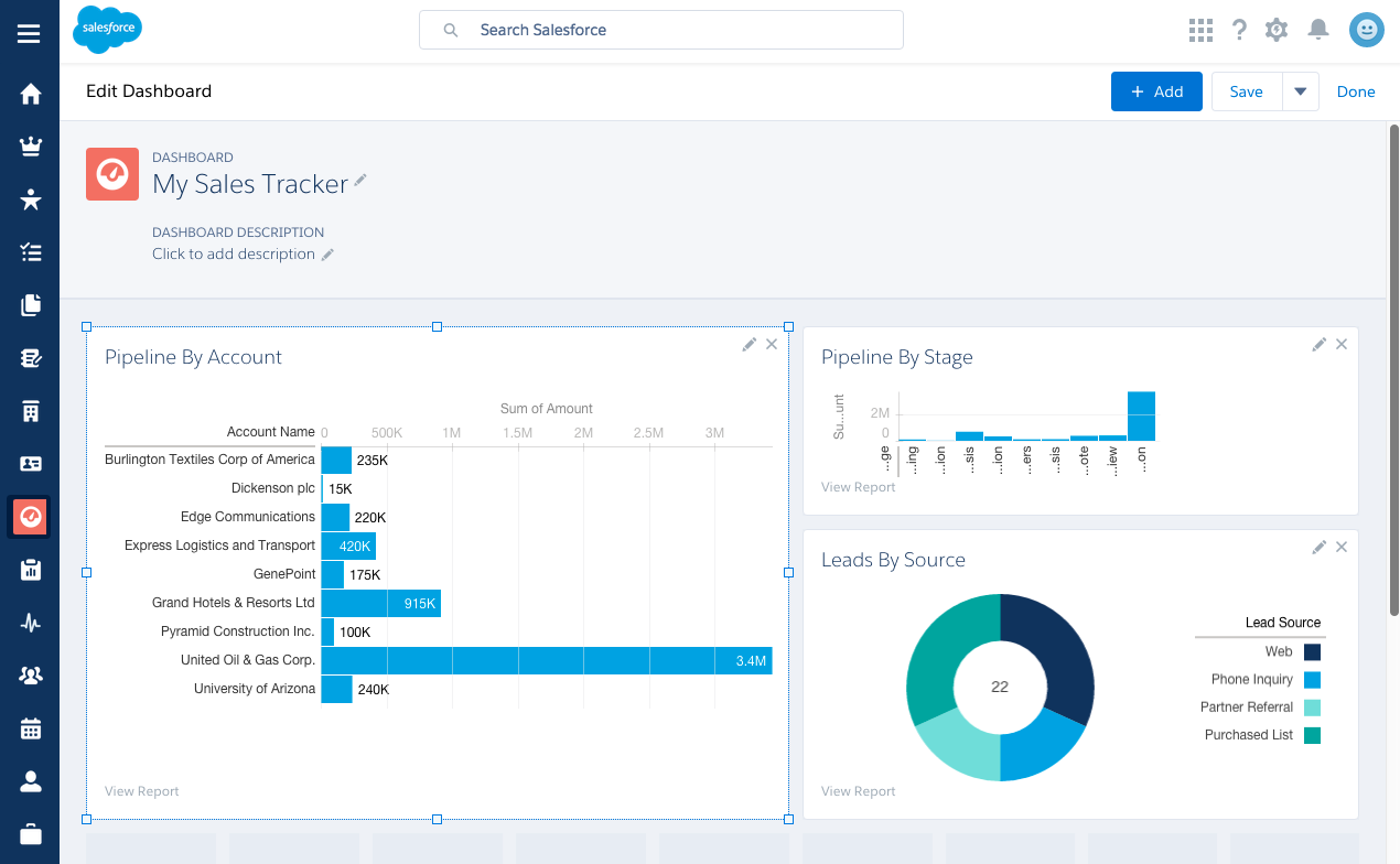 Screenshot of the Salesforce Lightning Dashboard with donut chart