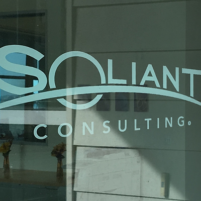 Screenshot of Soliant logo on glass door
