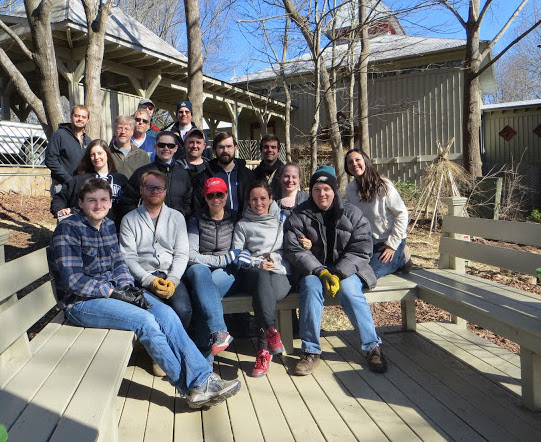 Soliant employees at the Elachee Nature Center. Front row: JohnAustin Lamprecht, Ross Johnson, Sara Severson, Makah Encarnacao, Taylor Kingsbury; Middle Row: Beth Bennet, Gillian Gentry, Jeremy Brown, Krystian Charubin, Lee Irminger (from Elachee Nature Center), Adrienne Vasquez, Martha Zink; Back Row: David Hillis, Bob Bowers, Dean Weisman, Phil Yaffe, Craig Stabler
