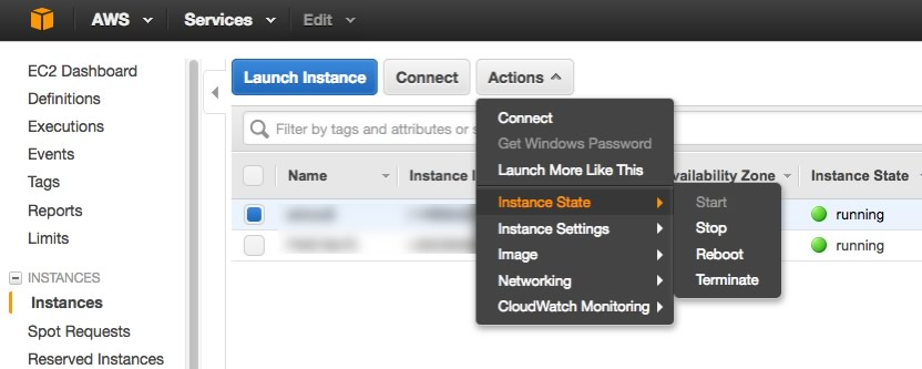 Figure 7 - Change the instance state in the AWS Console