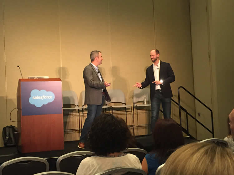 "Adrian Rosenkranz and Mike Wolff leading the ""When Sales Meets Marketing: A Love Story"" session"