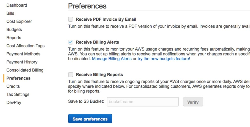"Screenshot of Preferene with the ""Receive Billing Alerts"" checkbox marked"