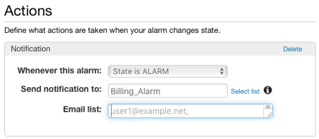 Screenshot of setting of Actions for an Alarm