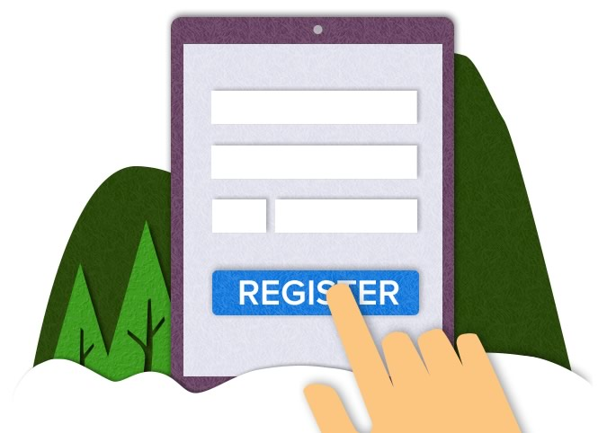 Paper cutout to illustrate registering web features