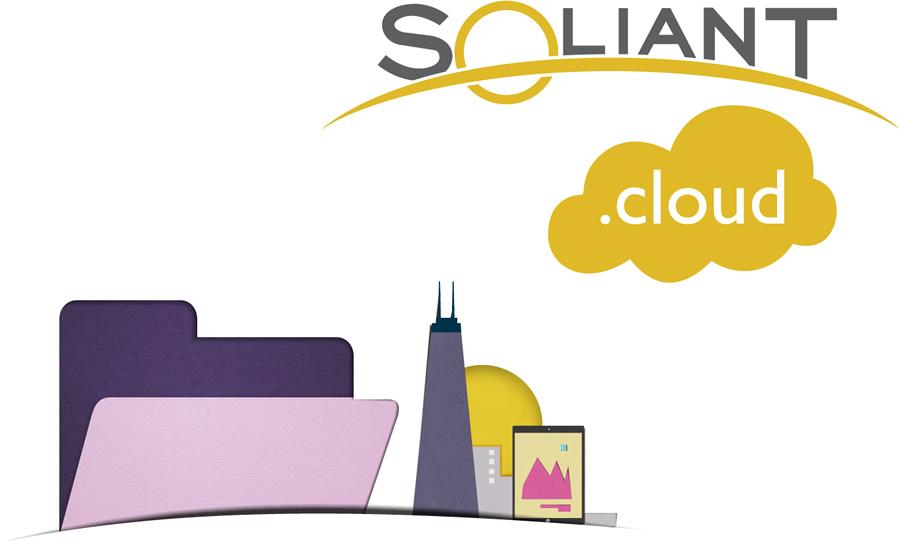 Paper cutout of Soliant.cloud logo annd FileMaker folder