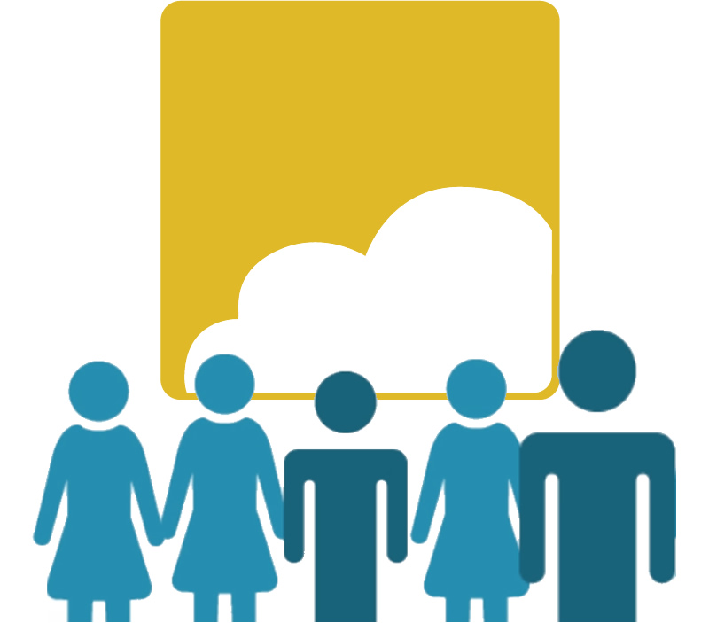 Figures representing clients standing in front of icon for Soliant.cloud