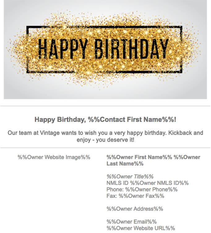 Figure 17 - Birthday email with personalization details