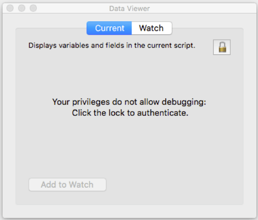 Message that appears for Data View if user doesn't have full access privileges.