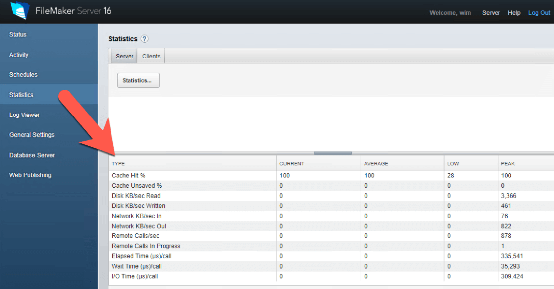 Figure 2 - screenshot of statistics in FileMaker Server 16 Admin Console