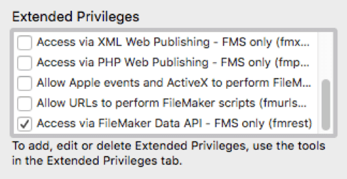 "Set up security in your FileMaker file to enable the ""fmrest"" privilege set."