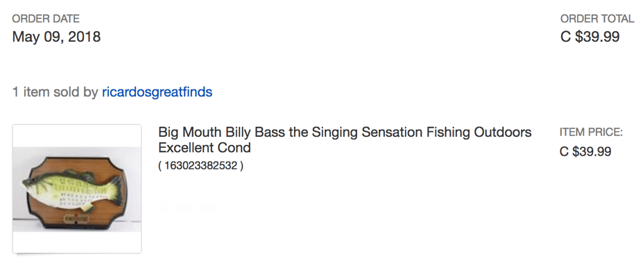 Order for buying an original Billy Bass