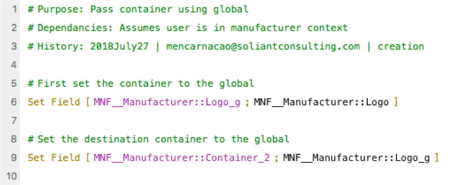 Set the destination field to the value stored in the global container