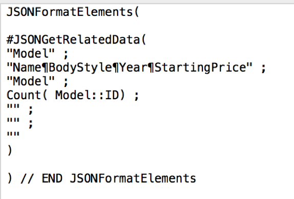 Example input using JSONFormatElements() Function