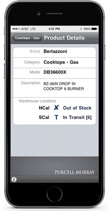 Photo of the custom iPhone app built for Purcell Murray