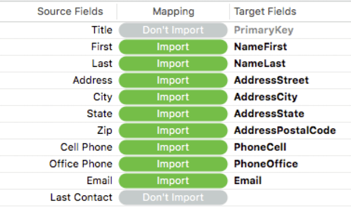 New data mapping UI in FileMaker 18