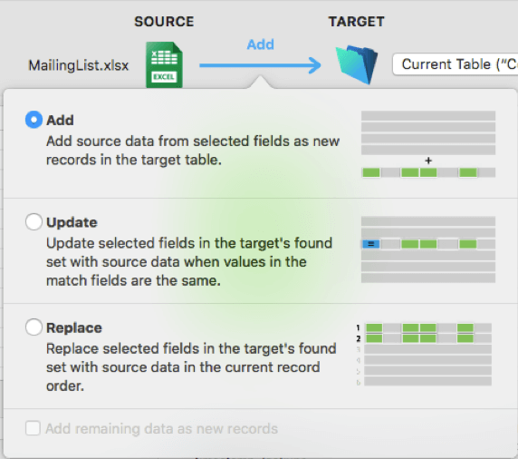 New Import Actions interface in FileMaker 18