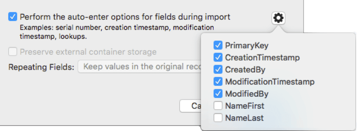 Auto-enter options for importing data