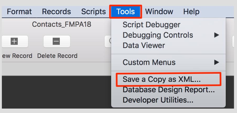 "Screenshot of the Tools menu with ""Save a Copy as XML"" highlighted in dropdown"