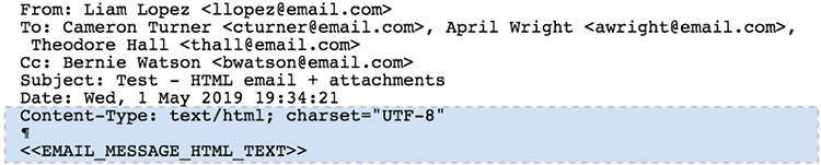 Screenshot of a simple non-MIME HTML email