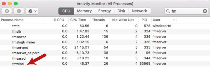 Screenshot of the macOS Activity Monitor in Zabbix FileMaker