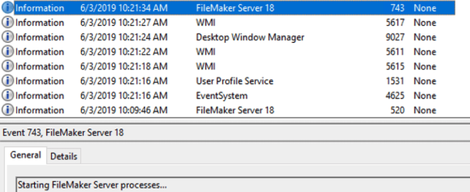 Screenshot of the Application event log that shows when the FileMaker Server started