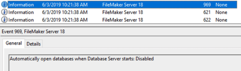 Screenshot of FileMaker Server configuration