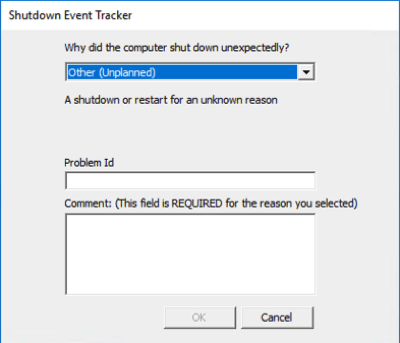 Screenshot of the Shutdown Event Tracker that appears when Windows prompts user to acknowledge the unexpected shutdown