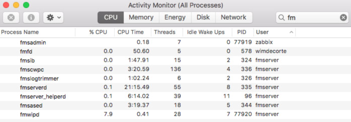 Screenshot of macOS Activity Monitor showing Data API process with a different ID (PID)