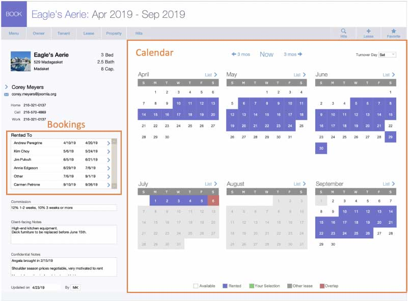 Booking layout UI with booking list on left and six-month calendar on the right