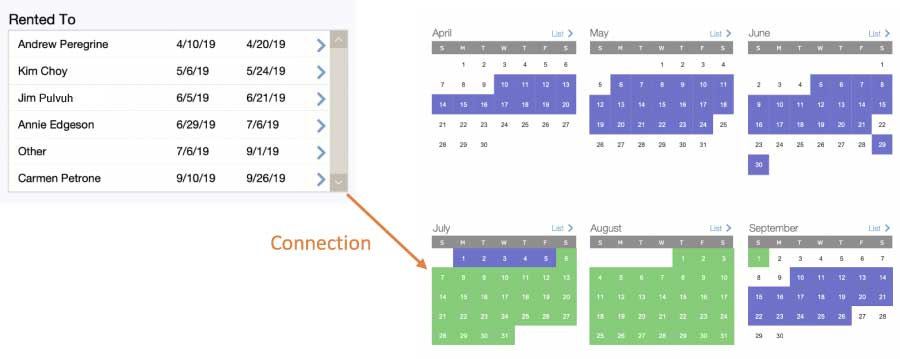 Booking layout UI that shows selected time period in green on the calendar