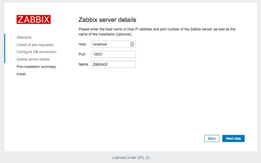 Screenshot of entering a name for the Zabbix installation