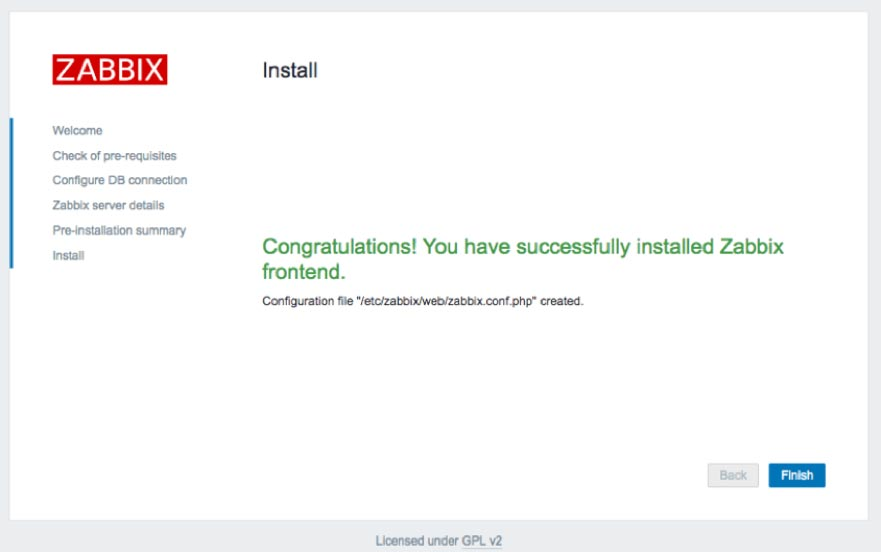 Screenshot showing the Zabbix frontend installation is completed
