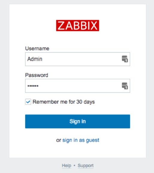 Screenshot of the Zabbix log for the admin console