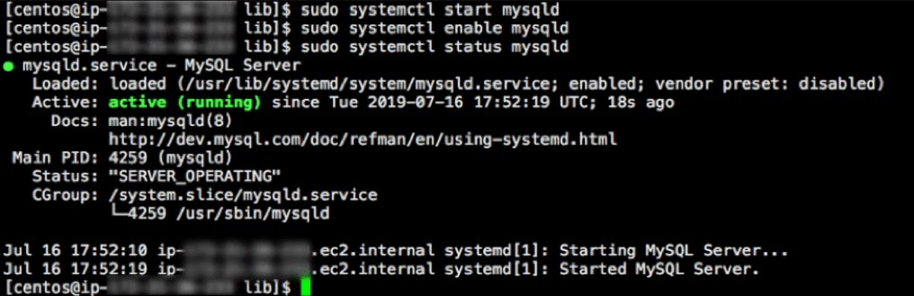 Screenshot of MySQL up and running