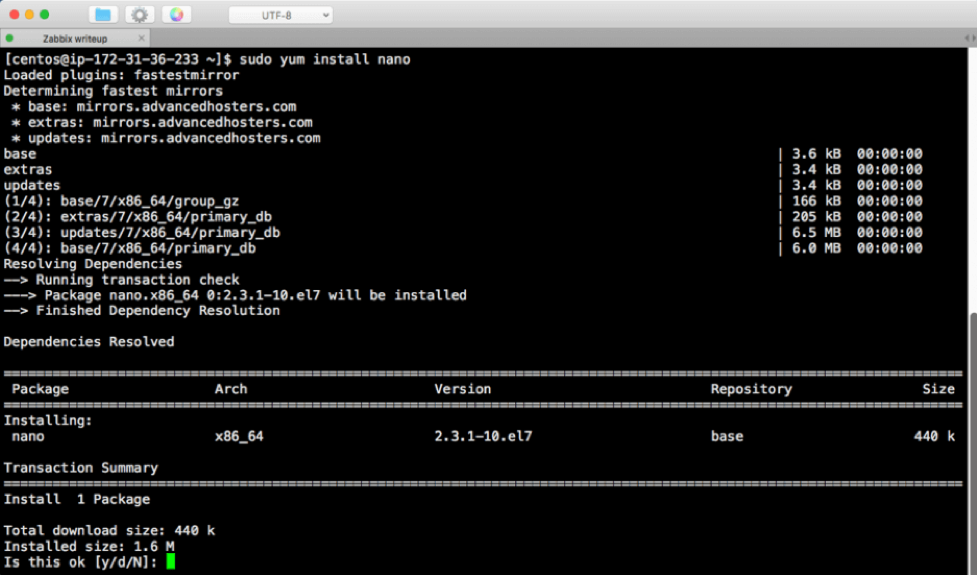 Screenshot of command line - type Y to proceed