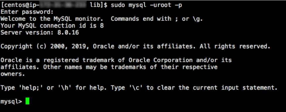 Screenshot of MySQL prompt