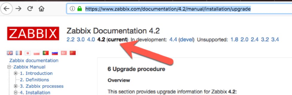 Screenshot of Zabbix Documentation 4.2 page in the browser