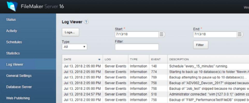 Screenshot of the Admin Console - Log Viewer