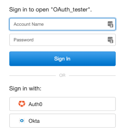 Screenshot of login that allows user to sign in with the Auth0 or Okta OAuth providers
