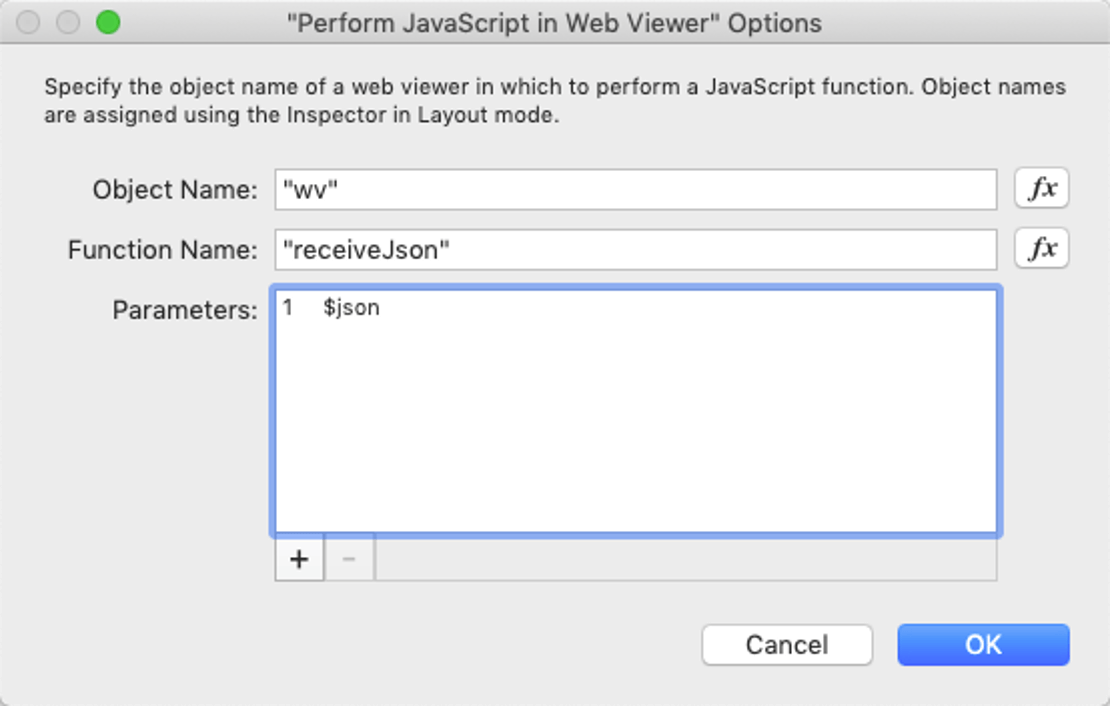 Screenshot of the 'Perform JavaScript in Web Viewer' options window and calling a JavaScript function