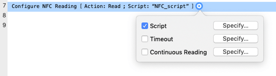 Screenshot of the Configure NFC Reading script step